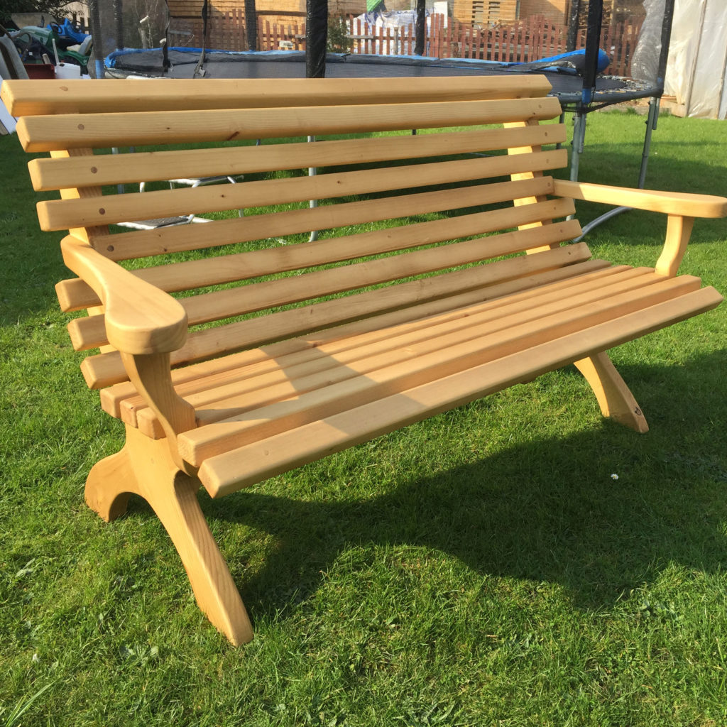 3 seater wooden bench