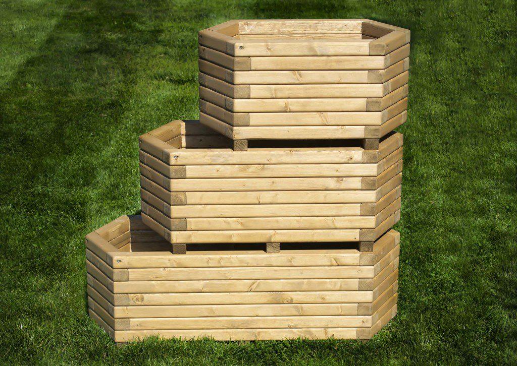 Hexagonal wooden planter