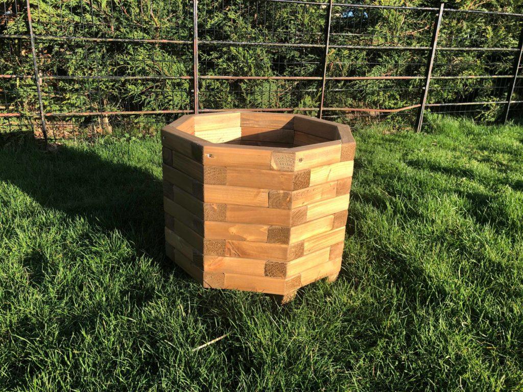 Octagonal wooden planter